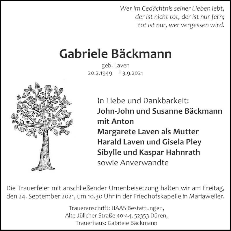 Traueranzeige für Gabriele Bäckmann vom 19.09.2021 aus Zeitung am Sonntag