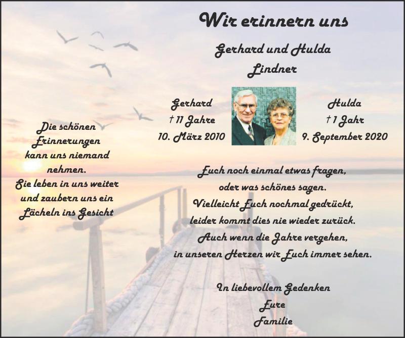 Traueranzeige für Gerhard Lindner vom 12.09.2021 aus Zeitung am Sonntag