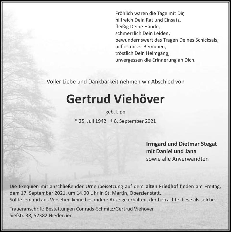 Traueranzeige für Gertrud Viehöver vom 12.09.2021 aus Zeitung am Sonntag