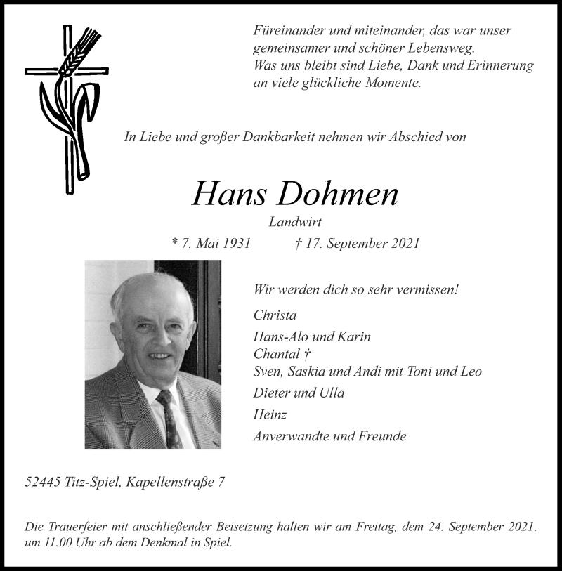 Traueranzeige für Hans Dohmen vom 22.09.2021 aus Aachener Zeitung / Aachener Nachrichten