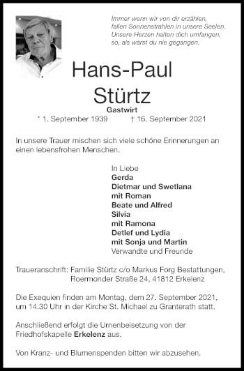 Traueranzeige von Hans-Paul Stürtz von Zeitung am Sonntag