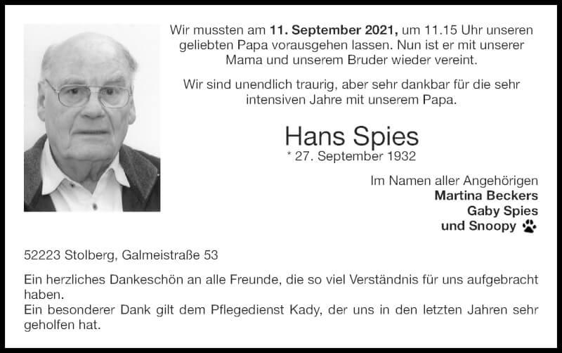 Traueranzeige für Hans Spies vom 19.09.2021 aus Zeitung am Sonntag