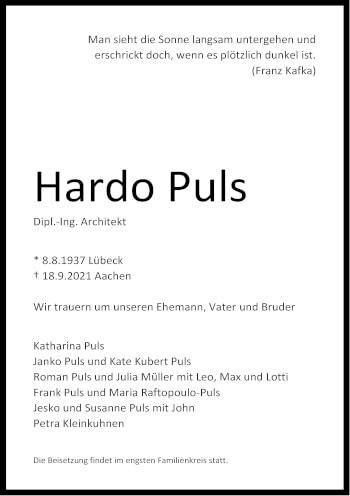 Traueranzeige von Hardo Puls von Aachener Zeitung / Aachener Nachrichten