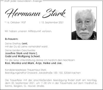 Traueranzeige von Hermann Stark von Aachener Zeitung / Aachener Nachrichten