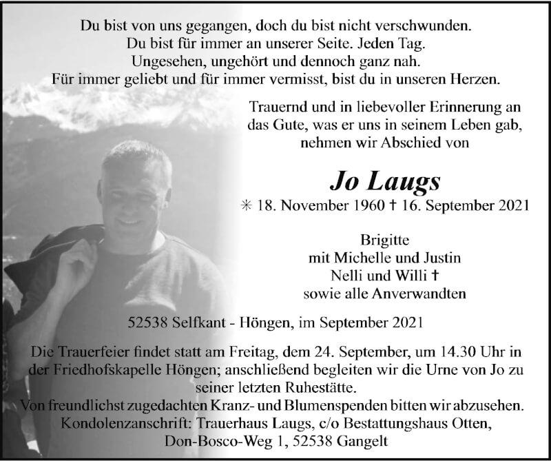 Traueranzeige für Jo Laugs vom 19.09.2021 aus Zeitung am Sonntag