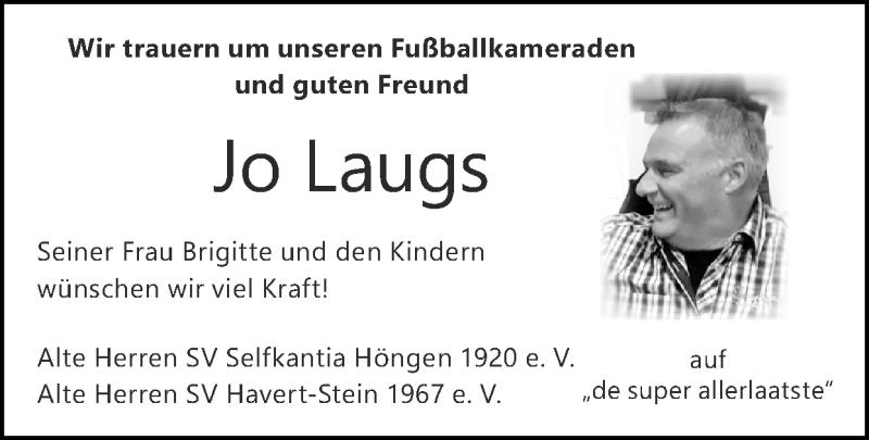 Traueranzeige für Jo Laugs vom 26.09.2021 aus Zeitung am Sonntag