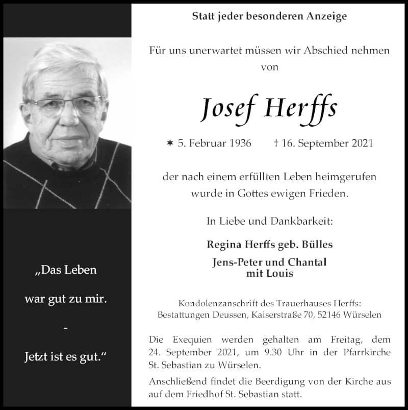Traueranzeige für Josef Herffs vom 19.09.2021 aus Zeitung am Sonntag