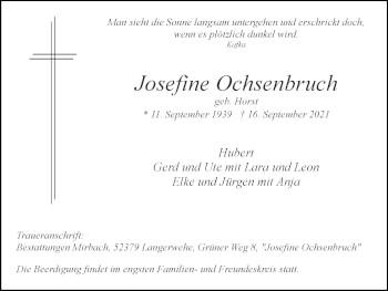 Traueranzeige von Josefine Ochsenbruch von Zeitung am Sonntag