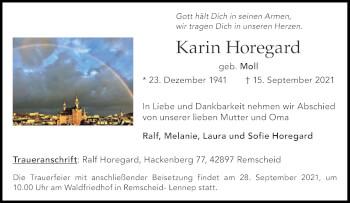 Traueranzeige von Karin Horegard von Aachener Zeitung / Aachener Nachrichten