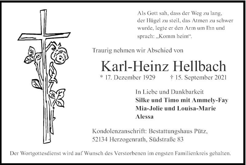 Traueranzeige für Karl-Heinz Hellbach vom 19.09.2021 aus Zeitung am Sonntag