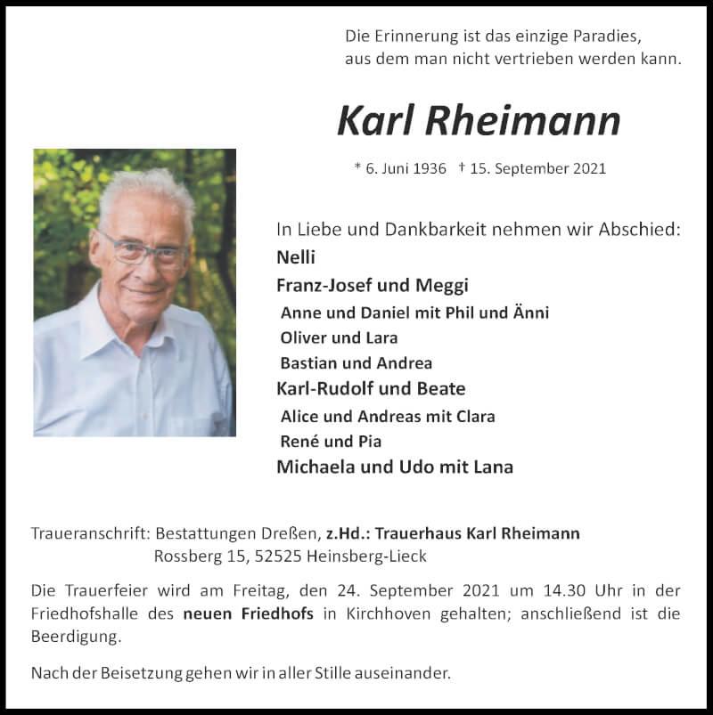 Traueranzeige für Karl Rheimann vom 19.09.2021 aus Zeitung am Sonntag