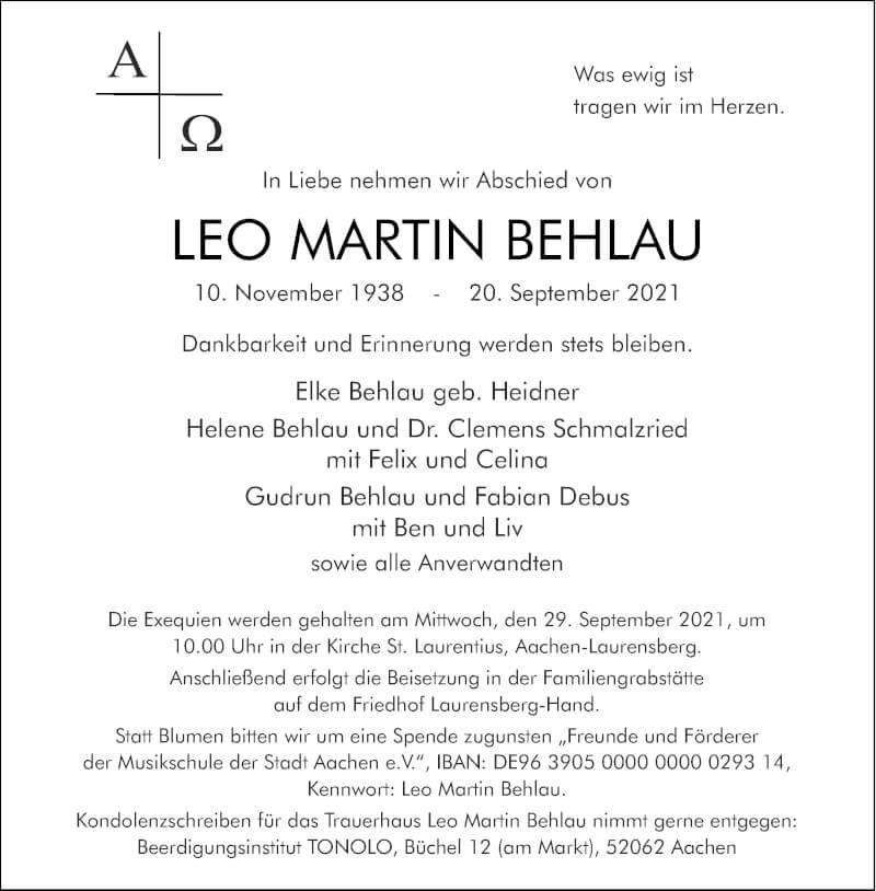 Traueranzeige für Leo Martin Behlau vom 25.09.2021 aus Aachener Zeitung / Aachener Nachrichten