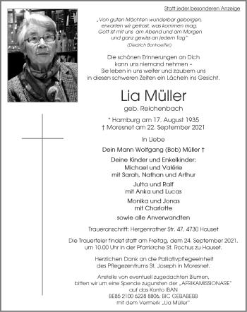 Traueranzeige von Lia Müller von Aachener Zeitung / Aachener Nachrichten