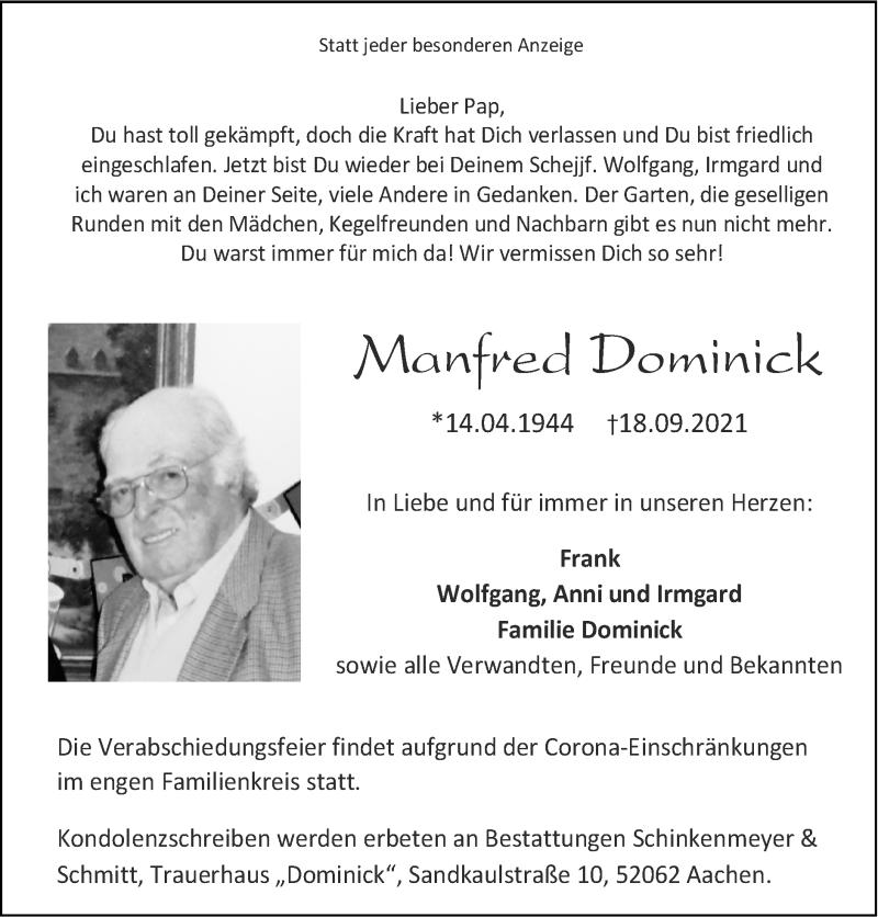 Traueranzeige für Manfred Dominick vom 26.09.2021 aus Zeitung am Sonntag