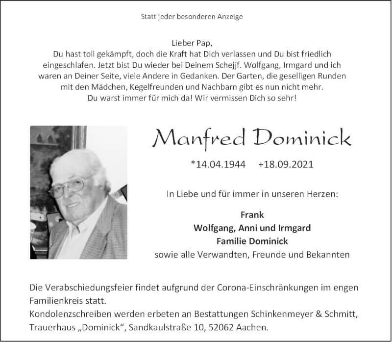 Traueranzeige für Manfred Dominick vom 25.09.2021 aus Aachener Zeitung / Aachener Nachrichten