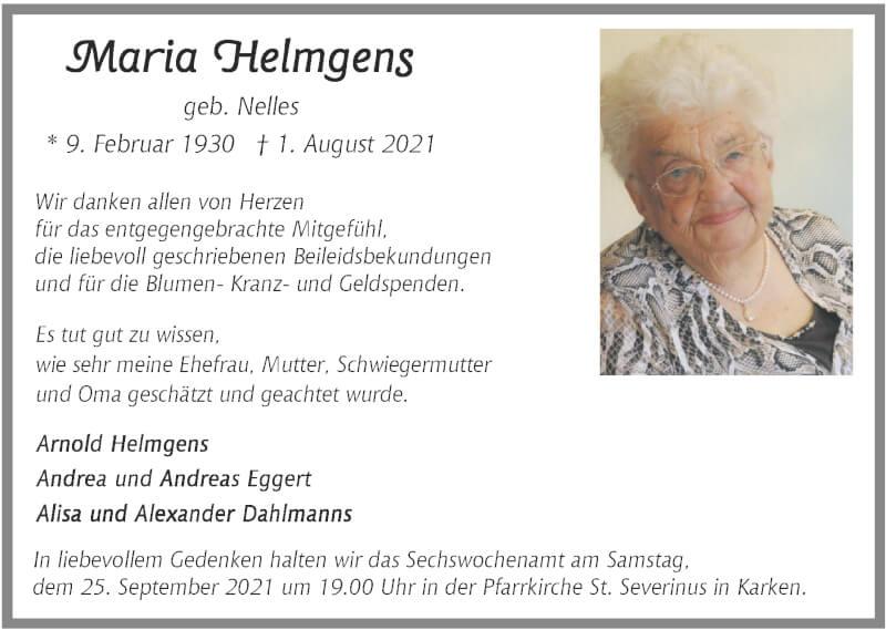 Traueranzeige für Maria Helmgens vom 19.09.2021 aus Zeitung am Sonntag