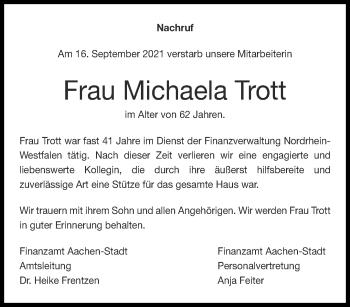 Traueranzeige von Michaela Trott von Aachener Zeitung / Aachener Nachrichten