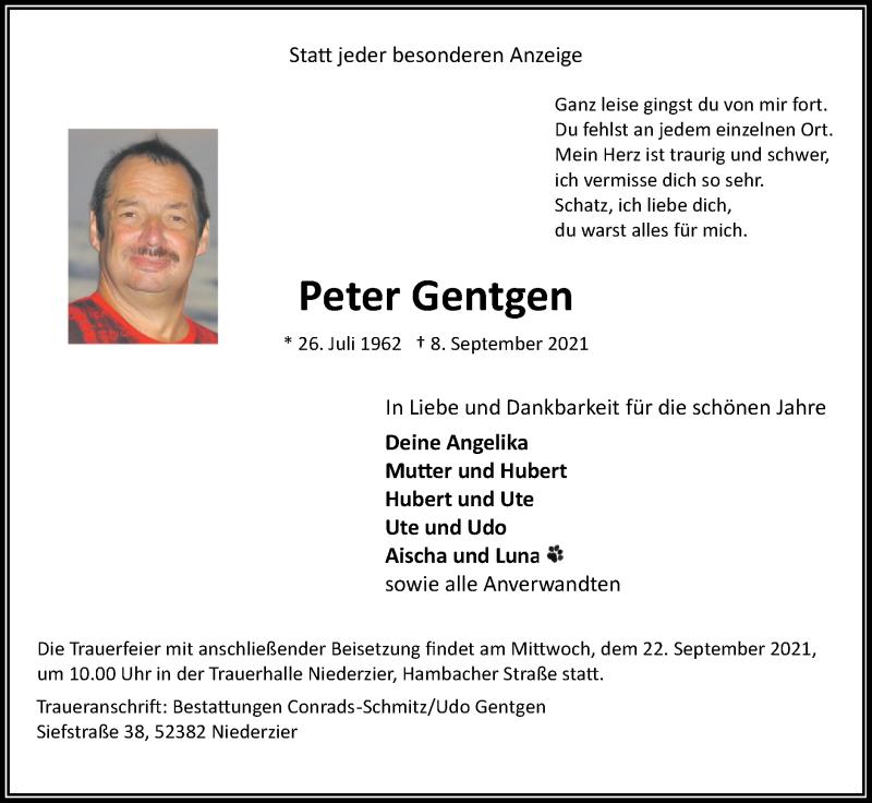 Traueranzeige für Peter Gentgen vom 12.09.2021 aus Zeitung am Sonntag