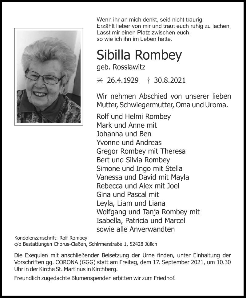 Traueranzeige für Sibilla Rombey vom 12.09.2021 aus Zeitung am Sonntag