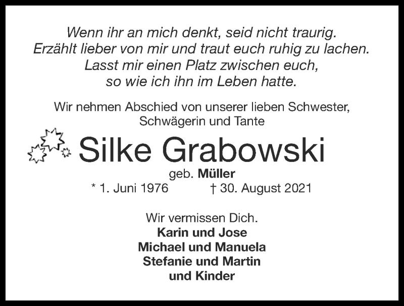 Traueranzeige für Silke Grabowski vom 12.09.2021 aus Zeitung am Sonntag