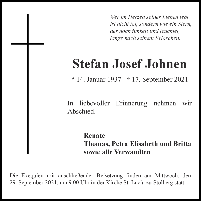 Traueranzeige für Stefan Josef Johnen vom 26.09.2021 aus Zeitung am Sonntag