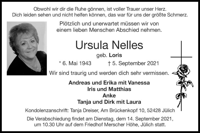 Traueranzeige für Ursula Nelles vom 12.09.2021 aus Zeitung am Sonntag