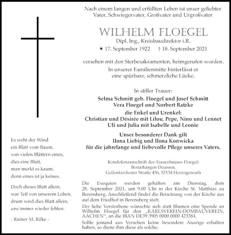 Traueranzeige für Wilhelm Floegel vom 25.09.2021 aus Aachener Zeitung / Aachener Nachrichten
