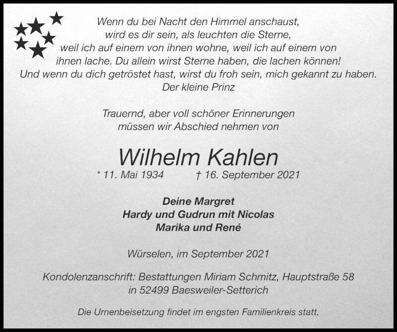 Traueranzeige für Wilhelm Kahlen vom 19.09.2021 aus Zeitung am Sonntag