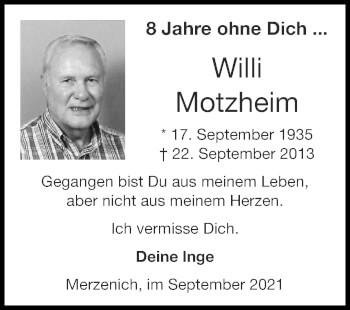 Traueranzeige von Willi Motzheim von Zeitung am Sonntag